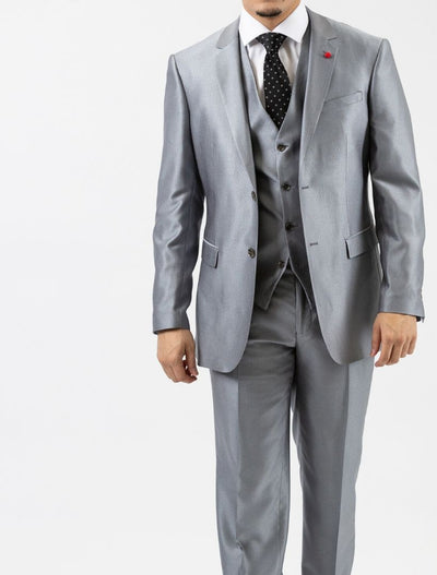 Men's Sharkskin Platinum Vested Slim Fit Suit by FUBU - Front