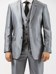 Men's Sharkskin Platinum Vested Slim Fit Suit by FUBU - Front Close Up