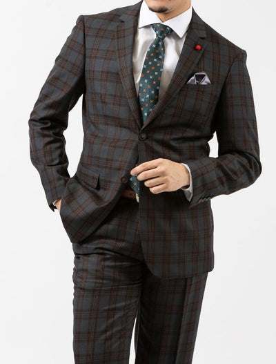 Men's Medium Grey & Bronze Plaid Slim Fit Suit by FUBU (Big & Tall)