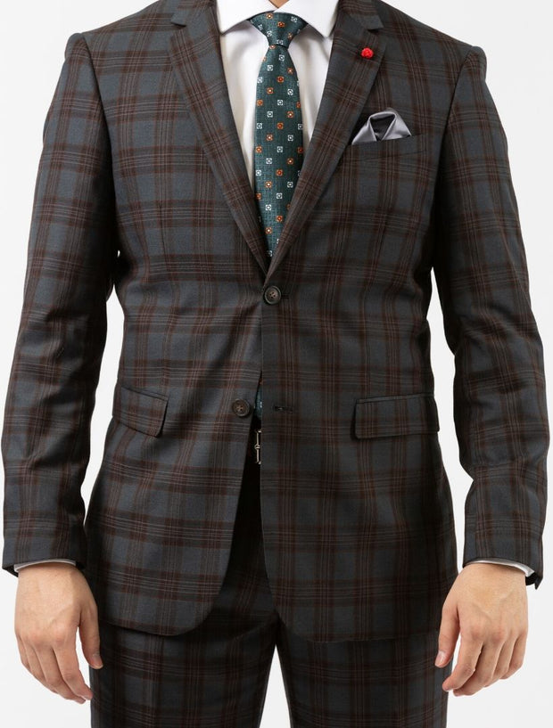 Men's Medium Grey & Bronze Plaid Wool Slim Fit Suit by FUBU