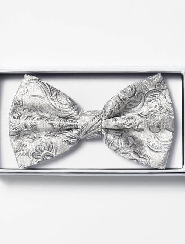 Mens Adjustable Pre-Tied Satin Bowtie with Paisley Print in Silver