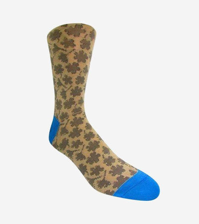 Men's Tan & Royal Blue Leaf Patterned Socks
