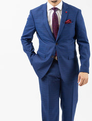 Men's Royal Blue & Navy Patterned Slim Fit Suit by FUBU