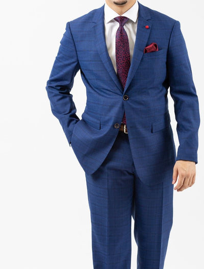 Men's Royal Blue & Navy Patterned Slim Fit Suit by FUBU - Front