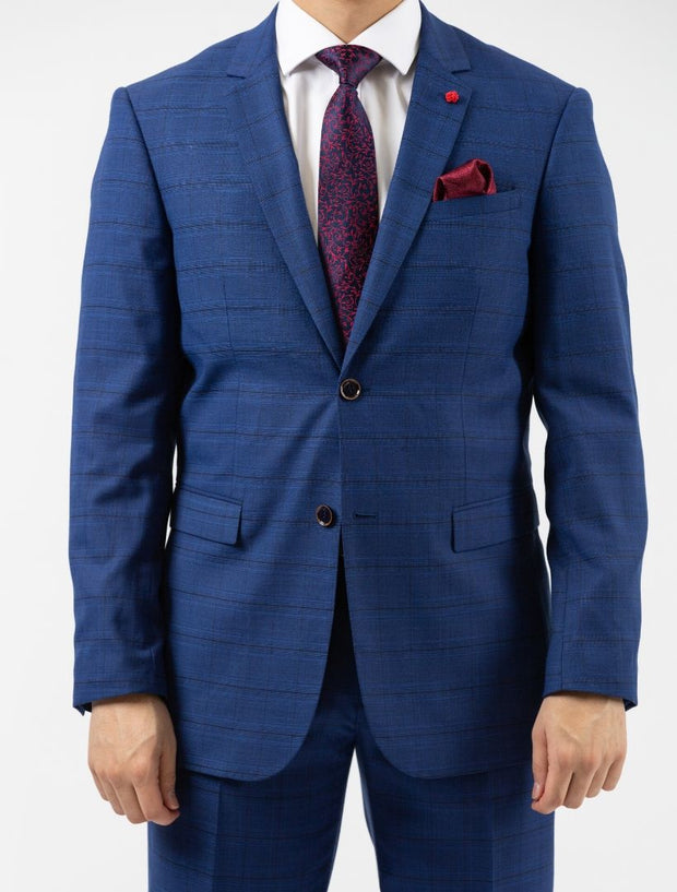 Men's Royal Blue & Navy Patterned Slim Fit Suit by FUBU - Front Close Up