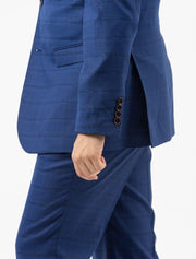 Men's Royal Blue & Navy Patterned Slim Fit Suit by FUBU - Side