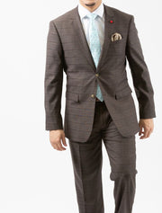 Men's Brown Plaid Slim Fit Suit by FUBU - Front