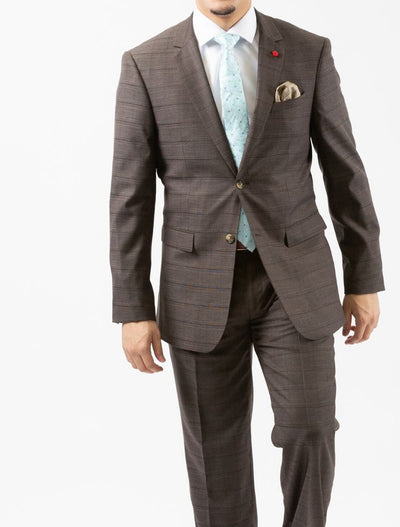 Men's Brown Plaid Slim Fit Suit by FUBU (Big & Tall) - Front