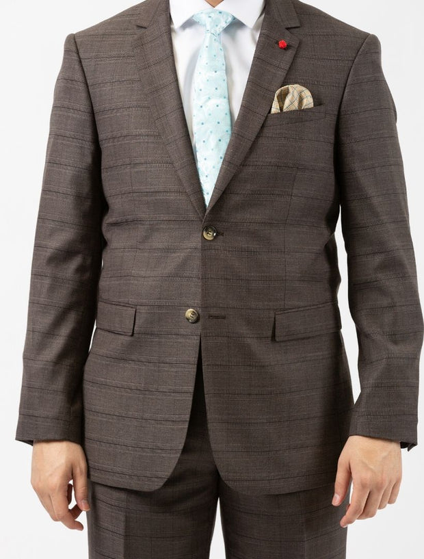 Men's Brown Plaid Slim Fit Suit by FUBU - Front Close Up