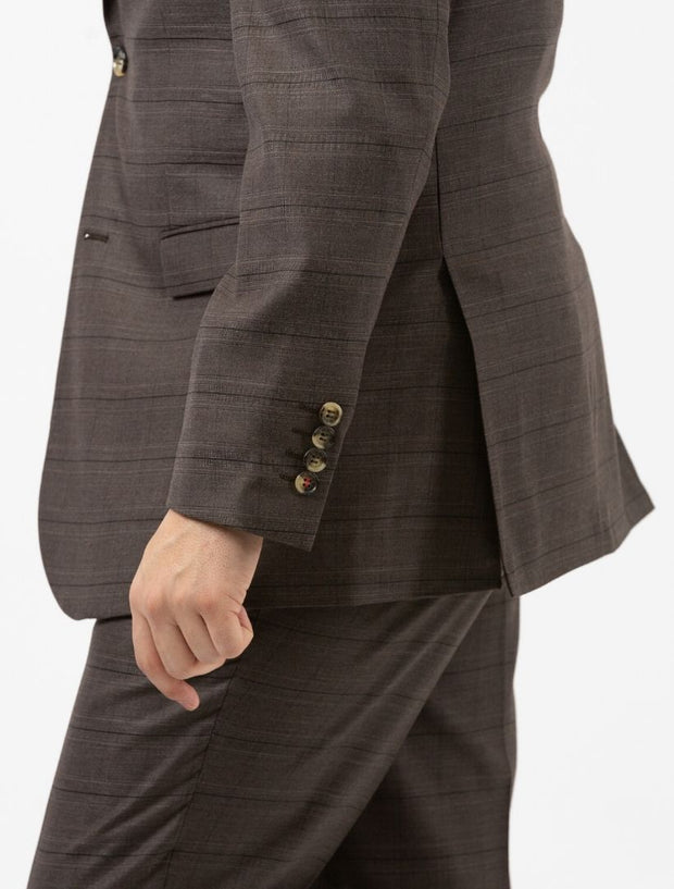 Men's Brown Plaid Slim Fit Suit by FUBU - Side