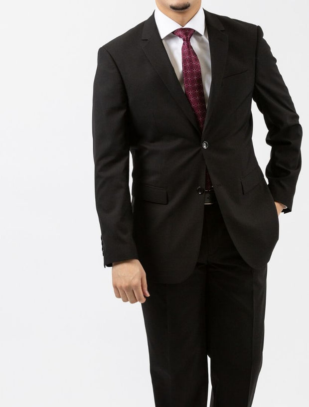 Men's Solid Onyx Black Wool Slim Fit Suit by FUBU