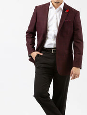 Burgundy Windowpane Check Slim Fit Sport Jacket - Front