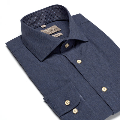 Men's Solid Blue Dark Wash Denim 100% Cotton Tailored Fit Dress Shirt - Showcasing Contrast Fabric