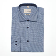 Men's White, Blue, and Navy Checkered 100% Cotton Tailored Fit Dress Shirt