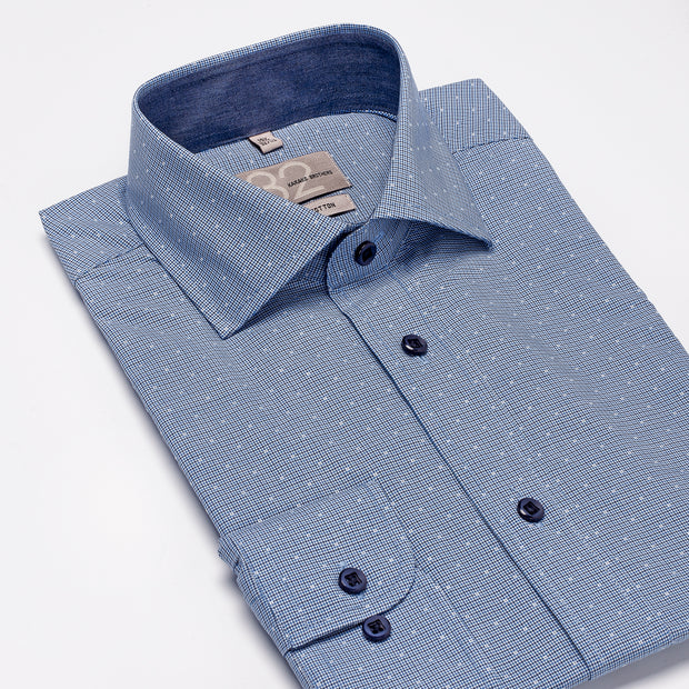 Men's White, Blue, and Navy Checkered 100% Cotton Tailored Fit Dress Shirt - Showcasing Contrast Fabric