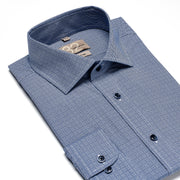 Men's Lake Blue & White Cubed 100% Cotton Tailored Fit Dress Shirt - Showcasing Contrast Fabric
