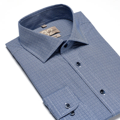 Men's Lake Blue & White Cubed 100% Cotton Tailored Fit Dress Shirt
