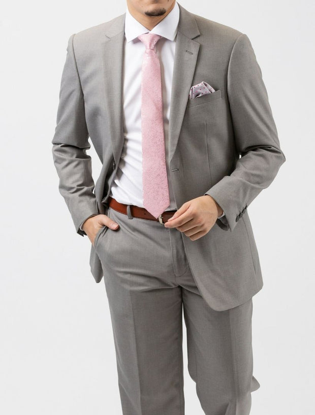 Karako Men Light Grey Modern Fit Suit - Hand in Pocket