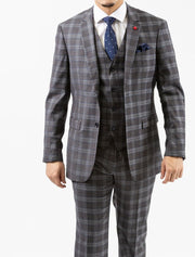 Men's Light Grey & White Plaid Vested Wool Slim Fit Suit by FUBU