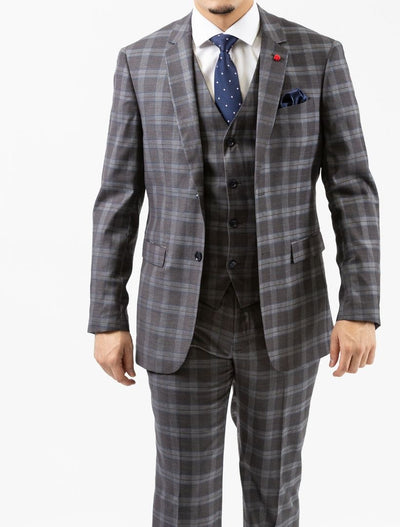 Men's Light Grey & White Plaid Vested Slim Fit Suit by FUBU - Front