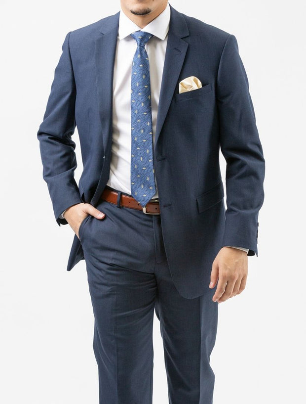 Karako Men Denim Blue Modern Fit Suit - Front View Hand in Pocket