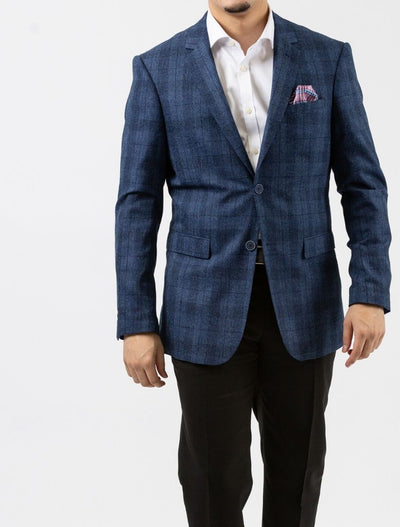 Royal Blue Windowpane Check Slim Fit Sport Jacket - Front