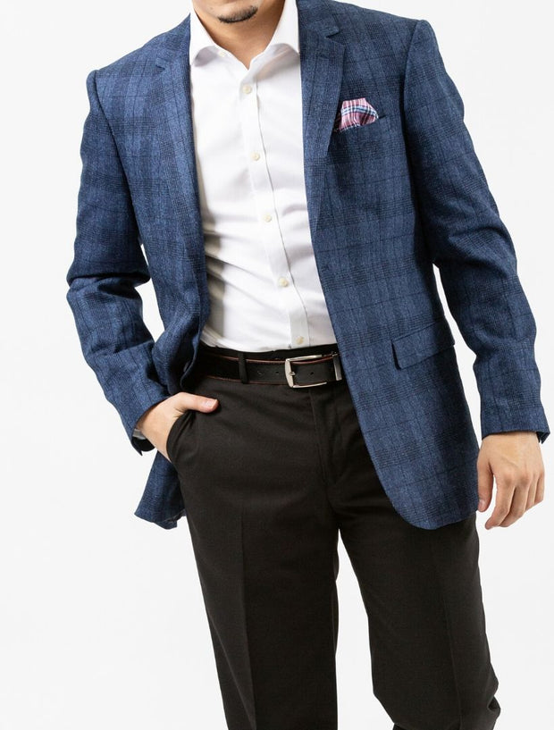 Royal Blue Windowpane Check Slim Fit Sport Jacket