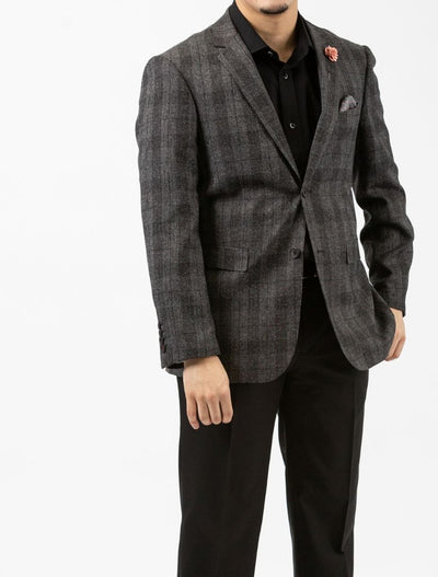 Dark Heather Charcoal Plaid & Check Slim Fit Sport Jacket - Front Left Side