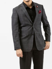 Charcoal Windowpane Check Slim Fit Sport Jacket - Front
