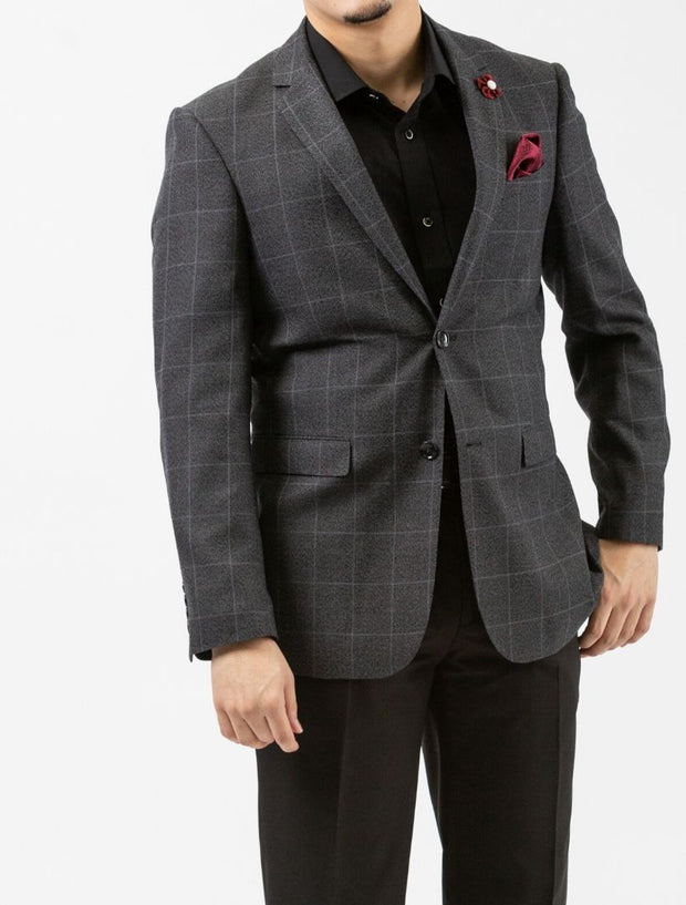 Charcoal Windowpane Check Slim Fit Sport Jacket