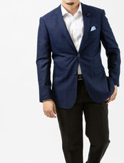 Dark Navy Windowpane Check Slim Fit Sport Jacket