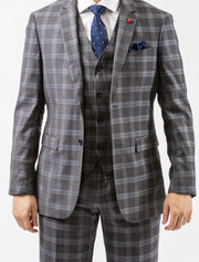 Men's Light Grey & White Plaid Vested Slim Fit Suit by FUBU - Front Close Up