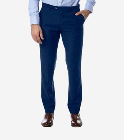 Blue Trim Fit Dress Pants - Front View