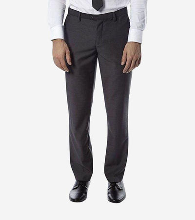 Grey Trim Fit Dress Pants - Front View