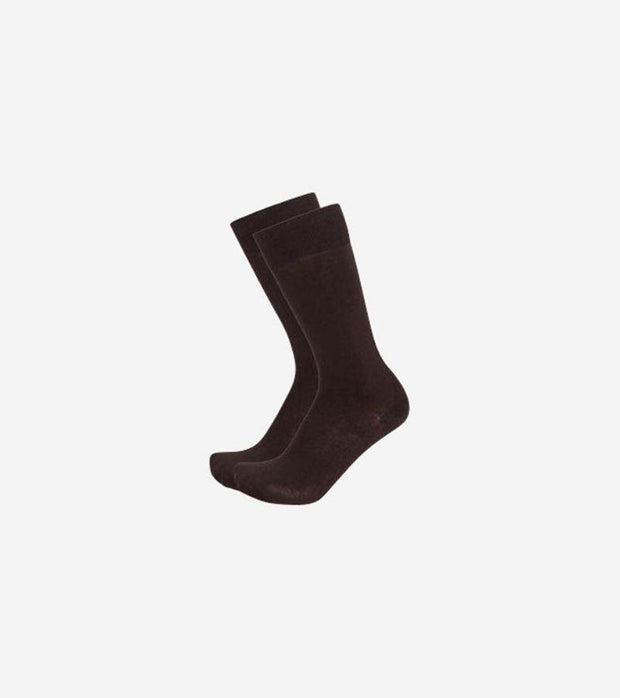 Karako Men Dark Brown Basic Dress Socks