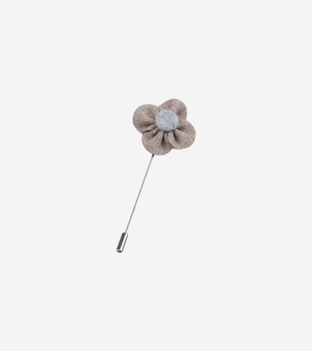 Dusty Tan and Grey Flower Lapel Pin
