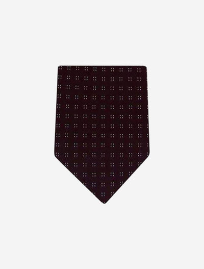 Men's Brown Patterned Microfiber Tie - Front View