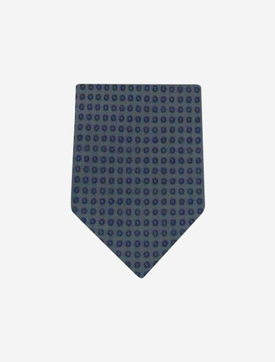 Men's Green with Blue Dots 100% Silk Tie