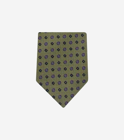 Men's Green Patterned 100% Silk Tie