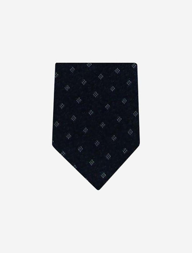 Men's Black with White Pattern 100% Silk Tie