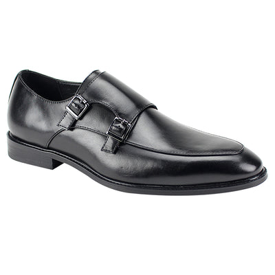 Antonio Cerreli Black Double-Monk Strap Men's Dress Shoes