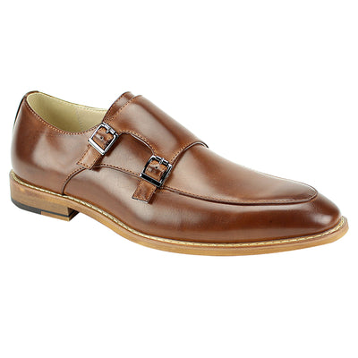 Antonio Cerreli Cognac Double-Monk Strap Men's Dress Shoes