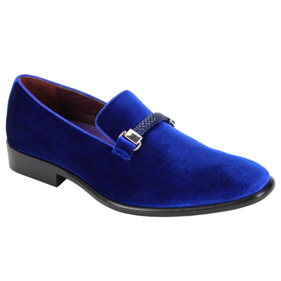 After Midnight Royal Blue Velvet Slip-On Shoes