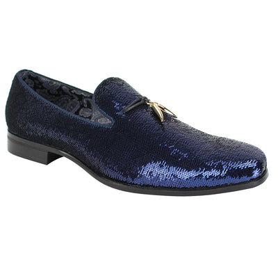 After Midnight Royal Blue Rhinestone Slip-On Shoes