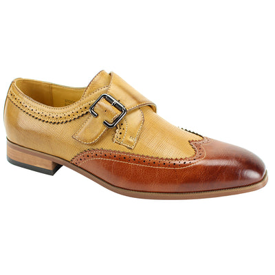 Antonio Cerreli Cognac & Brown Two-Tone Monk-Strap Dress Shoes