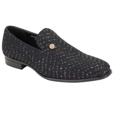 After Midnight Black Patterned Slip-On Shoes