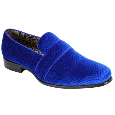 After Midnight Royal Blue Patterned Slip-On Shoes