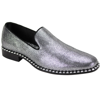 After Midnight Glittered Silver Slip-On Shoes