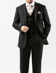 Men's Onyx Black Plaid Vested Slim Fit Suit by FUBU