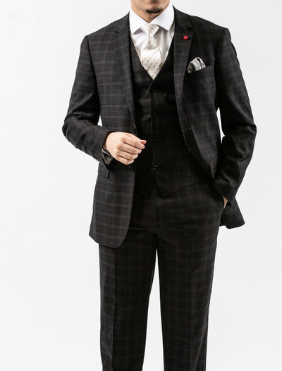 Men's Onyx Black Plaid Vested Slim Fit Suit by FUBU - Front